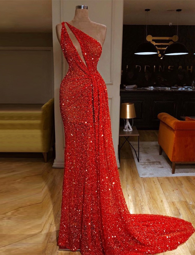 Long Sexy Red Sequin Prom Dresses 2019 Mermaid Dubai One Shoulder Fashion Evening Prom Party Opening Ceremony Celebrity Gowns