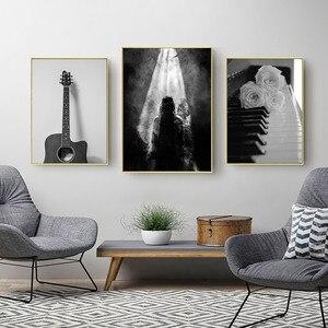 Image 2 - Preto e branco lona arte flor imagem abstrata moderna pintura cartaz sala de estar pintura preto branco paisagem sem moldura