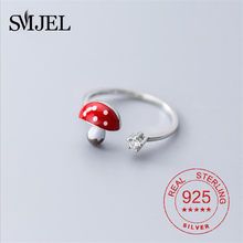 925 стерлингового серебра эмаль гриб кольца для женщин CZ обручальное кольцо ювелирные изделия для девочек 2021 новые подарки