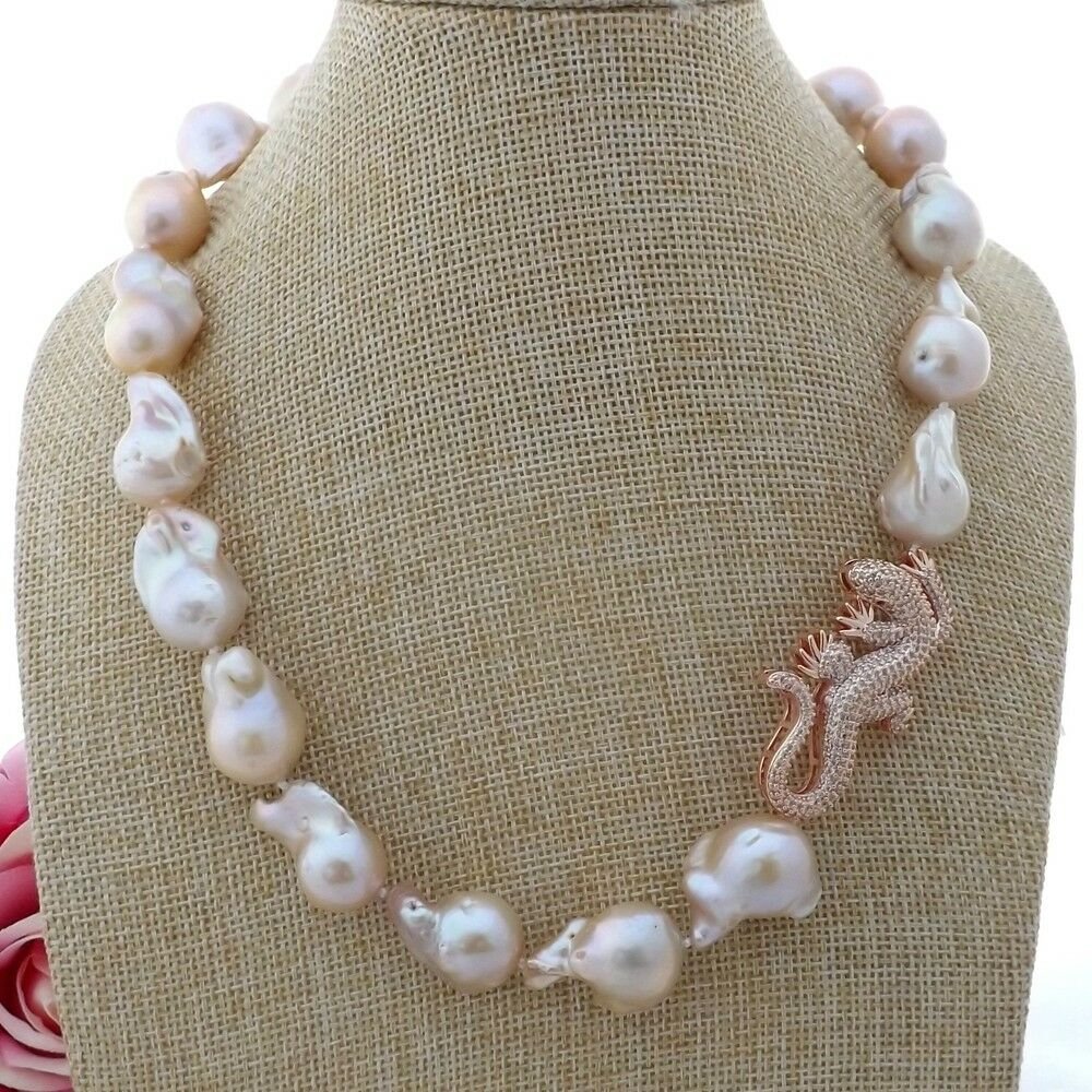 "K110103 19"" 17x18MM Pink Keshi Pearl Necklace Lizard CZ Pave Pendant"