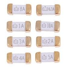 10 Teile/los Gold Fuß 1808 125V SMD Flink Sicherung 0,5 A 0,75 A 1A 2A 3A 4A 5A 6,3 EINE 8A 10A 0451 Ultra-schnelle Sicherungen