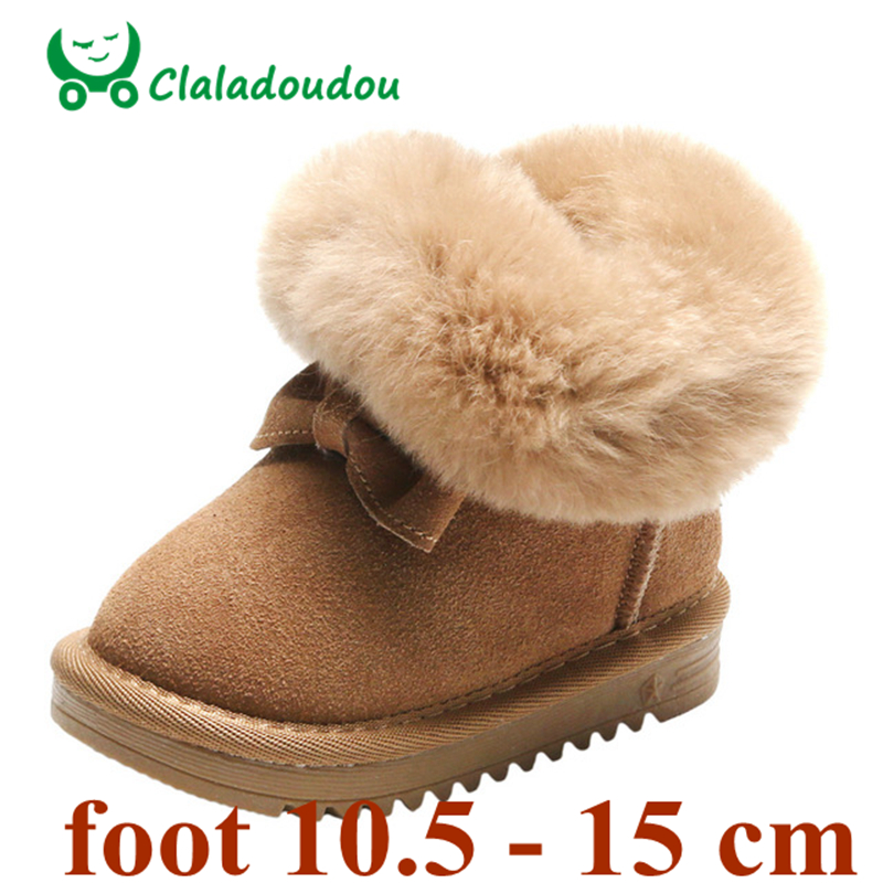 Image 2 - Claladoudou 11.5 15.5cm Brand Turned over Warm Plush Baby Snow Boots Genuine Leather Cute Butterfly Party Winter Shoes ToddlerBoots   -