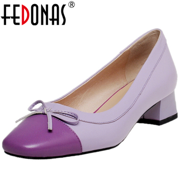 FEDONAS Mixed Colors Women Cow Leather Pointed Toe Party Wedding Casual Pumps Butterfly Knot Thick Heel Shallow New Shoes Woman