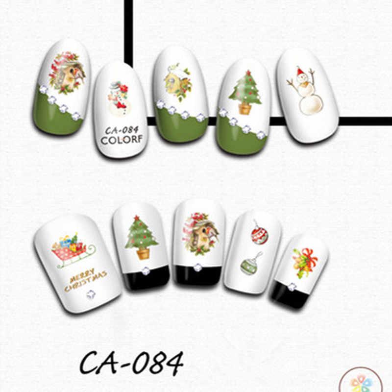 1 pieza de Navidad copo de nieve pegatinas de uñas calcomanías copos de nieve envolturas de Navidad muñeco de nieve decoración de uñas herramientas de manicura