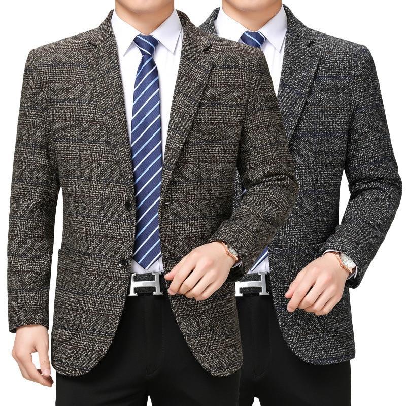 2019 Autumn Middle-aged Men's Suit Jacket Business Casual Male Striped Coat Size S-4XL Blazer