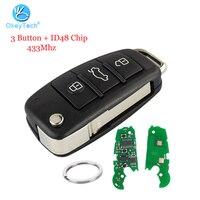 OkeyTech dla Audi A3 TT klucz samochodowy 3 przycisk zdalny inteligentny odwróć klucz zamienny ID48 pierścień chipowy HAA HU66 ostrze w Kluczyki samochodowe od Samochody i motocykle na