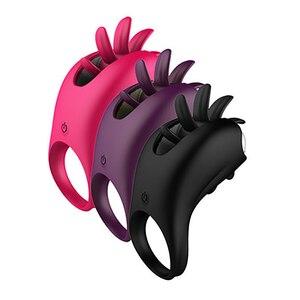 Image 5 - Kadın için seks oyuncakları titreşimli Penis halkası döner sihirli dil klitoral vibratör yüzük Penis seks oyuncakları titreşim yüzük çiftler