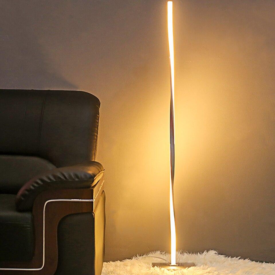 Nowoczesna lampa led podłogowa do salony nowoczesna lampa na słup stojący do sypialni studyjnych biura jasne ściemniane światło podłogowe