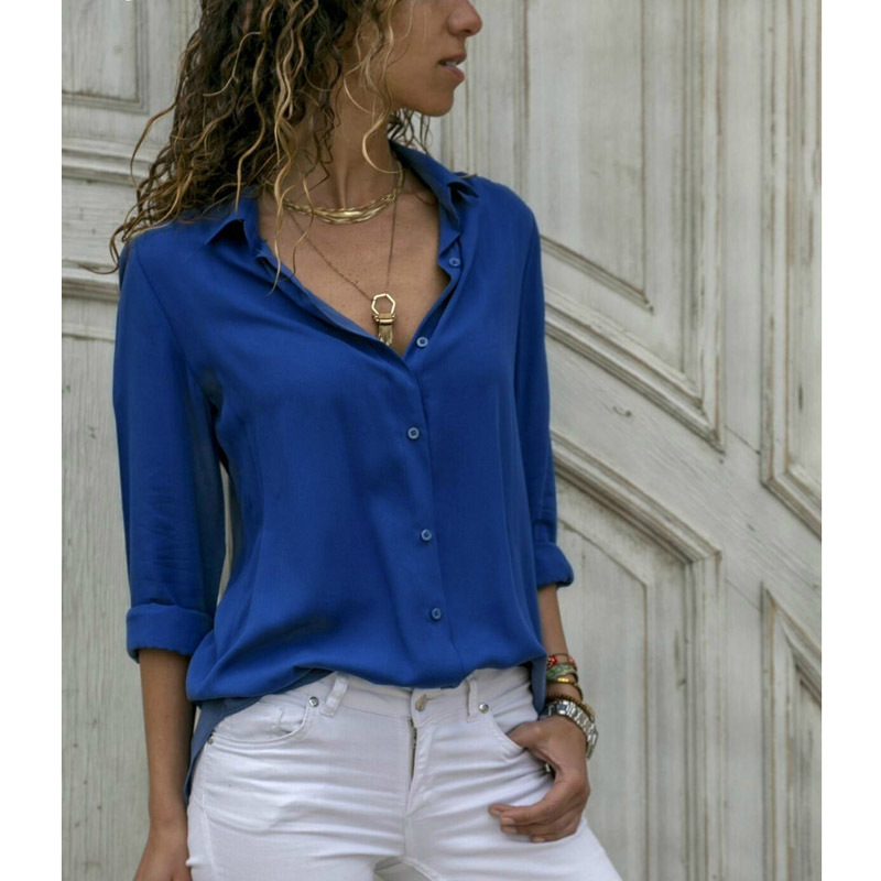 Women Long Sleeve Blouse Shirt Fashion Elegant Ladies Solid Color OL Turn-down Collar Button Shirts Outfits Fit Tops
