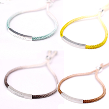 Customized Name 925 Sterling Silver Bracelet Engrave Letters Gradient Color Rope Personalized Gifts For Woman