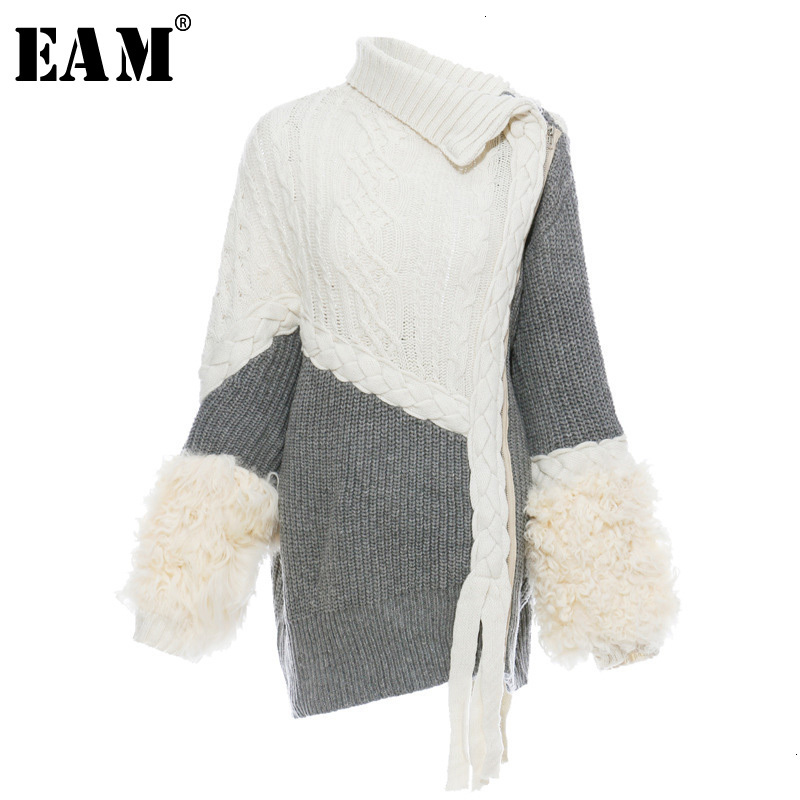 [EAM] Asymmetrical Split Fur Big Size Knitting Sweater Loose Fit  Long Sleeve Women New Fashion Tide Autumn Winter 2019 1H202