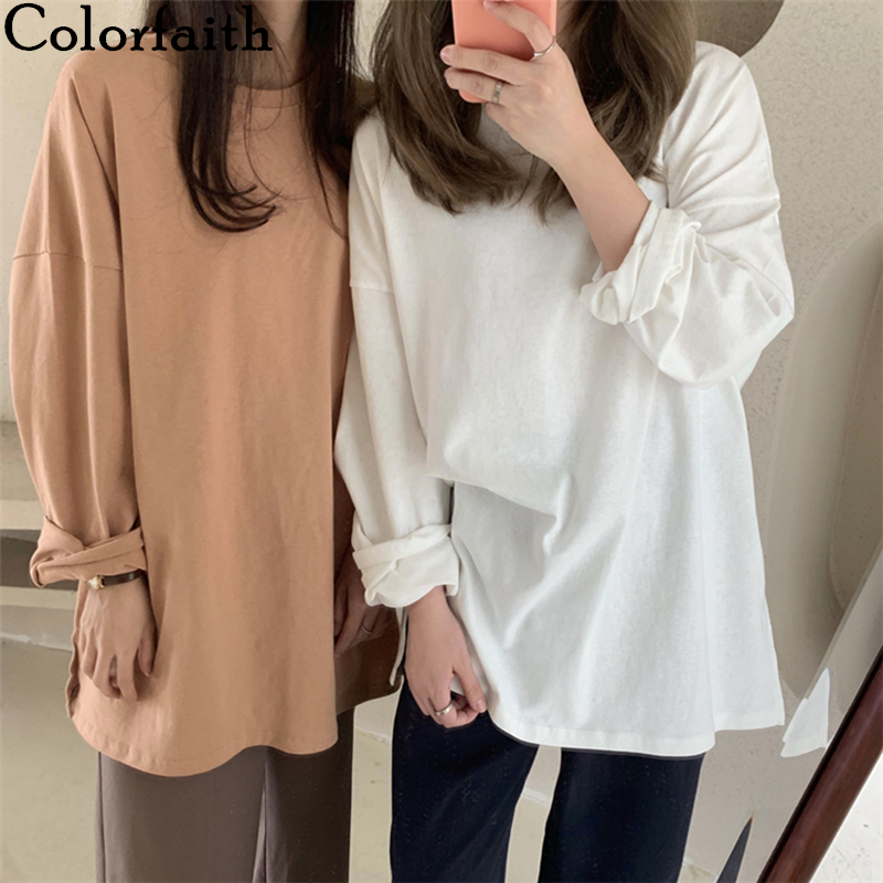 Colorfaith New 2020 Women Spring Loose T-Shirts Solid Bottoming Long Sleeve Casual Korean Minimalist Style Triko Tops Tees T601