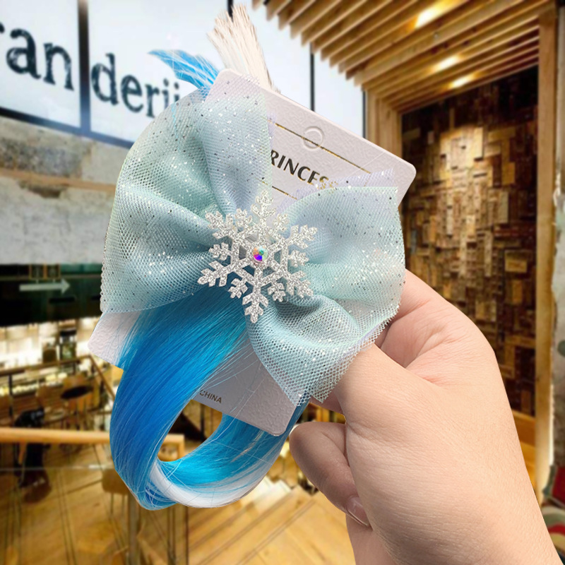 Frozen Children's Snowflakes Hair Clip Princess Elsa Headdress Set Lace Streamer Side Clip Let It Go