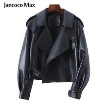 Sheepskin Coat For Women Leather Jacket Winter Spring Moto Biker Genuine Top Quality Black S7547