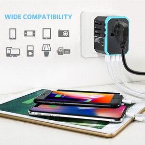 Image 5 - 5USB 여행 어댑터 범용 전원 어댑터 충전기 전세계 어댑터 벽 전기 플러그 소켓 변환기 휴대 전화