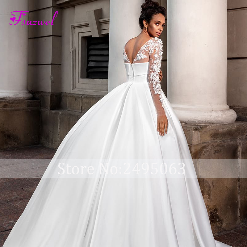 Image 4 - Fsuzwel Romantic Scoop Neck Long Sleeve A Line Wedding Dress 2020 Luxury Beaded Appliques Satin Court Train Vintage Bridal GownWedding Dresses   -