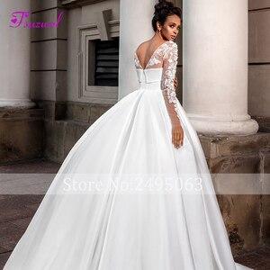 Image 4 - Fsuzwel ロマンチックなスクープネックロングスリーブ a ラインのウェディングドレス 2020 高級ビーズアップリケサテン裁判所の列車ヴィンテージブライダルドレス