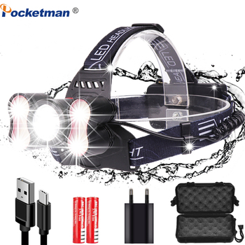 6000 LM Ultra Bright LED Headlamp Head Flashlight 5 LED  Headlight T6 Head Lamp  head Torch  with 18650 battery Best For Camping jetbeam hc20 800lm 5 mode cool white led head lamp flashlight black 1 x 18650