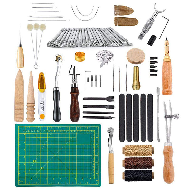 Golden Eagles 50 Pieces Handmade Leather Goods Sew Set Leather Tool Kit DIY Leather Handmade Set 13 |Power Tool Sets| |  - title=