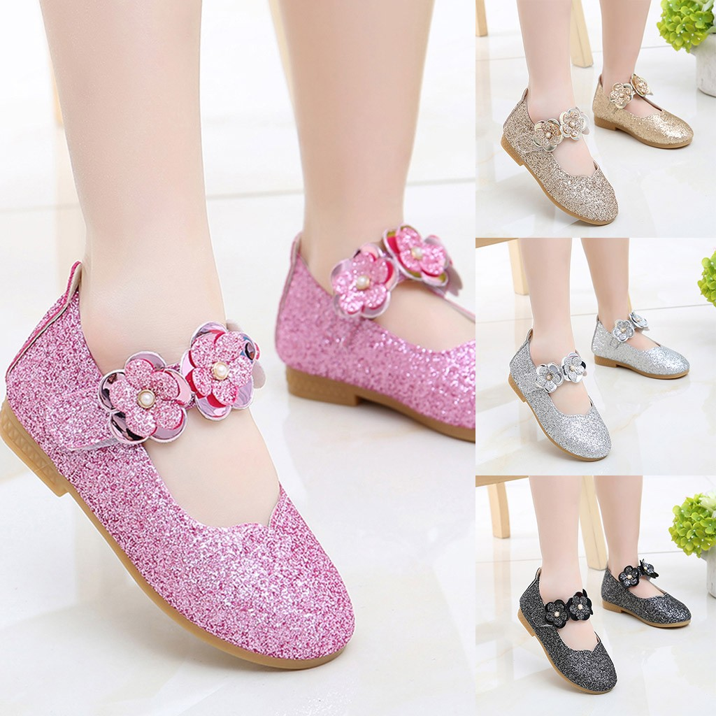 Toddler Infant Kids Baby Girls Flower Bowknot Bling Sequins Single Princess Casual Shoes Chaussures Kids Shoes детская обувь