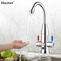 Kbxstart 220V Instant Elektrische Wasserhahn Edelstahl Tankless Wasser Heizung Mit Temperatur Display Heiße Und Kalte Dual-use- 3400W