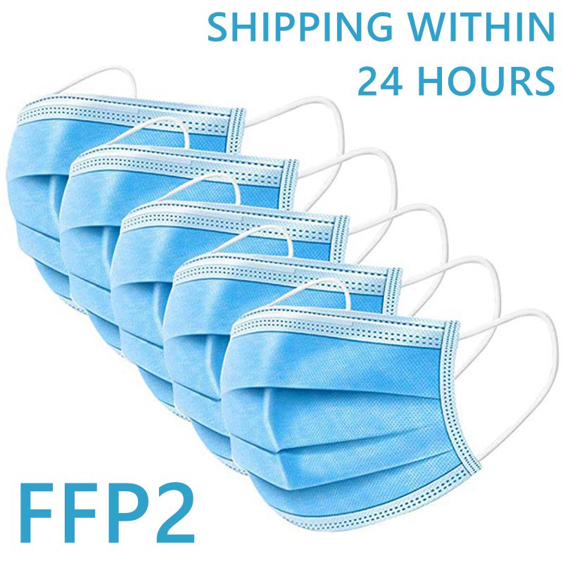 IN STOCK FAST SHIP Face Mouth Anti Virus Mask 100Pcs One Time MASK  Disposable Elastic Mouth Soft Breathable Face Mask FFP2