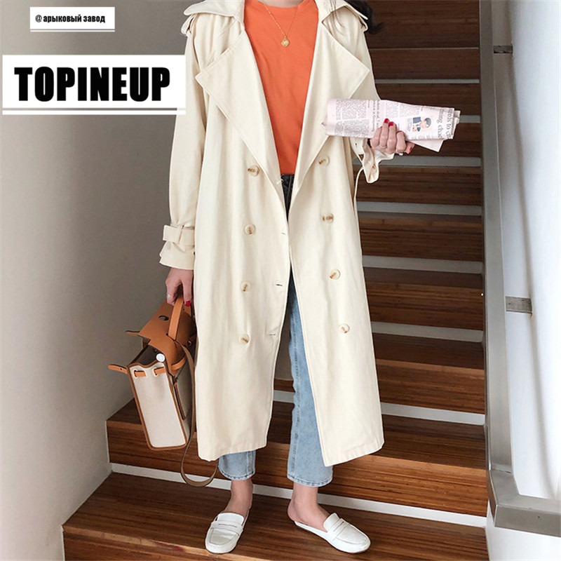 2019 New Women's Double-Breasted   Trench   Coat with Belt Classical Lapel Collar Loose Long Windbreaker Russian style Chic Outwear