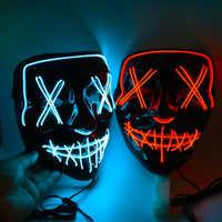 Máscara LED de Halloween que brillan en la oscuridad máscara luminosa de alambre para DJ Cosplay fiesta Club nocturno disfraces máscaras de neón accesorios de Halloween