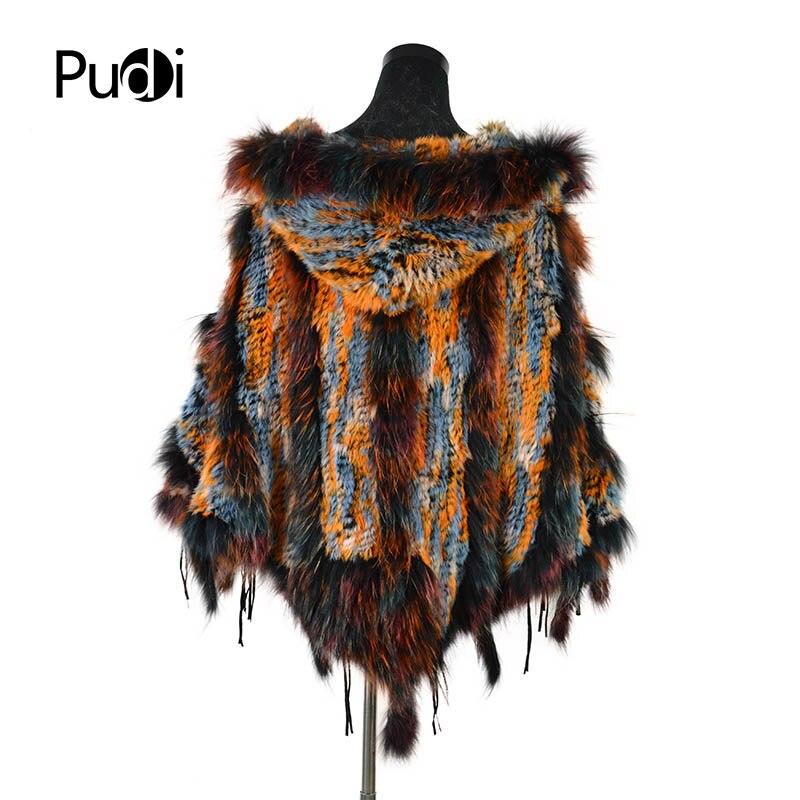 CK708 Real punto conejo chal poncho estola con borlas encogimiento de hombros capa bata tippet abrigo con Cuello de piel de mapache mujeres - 3