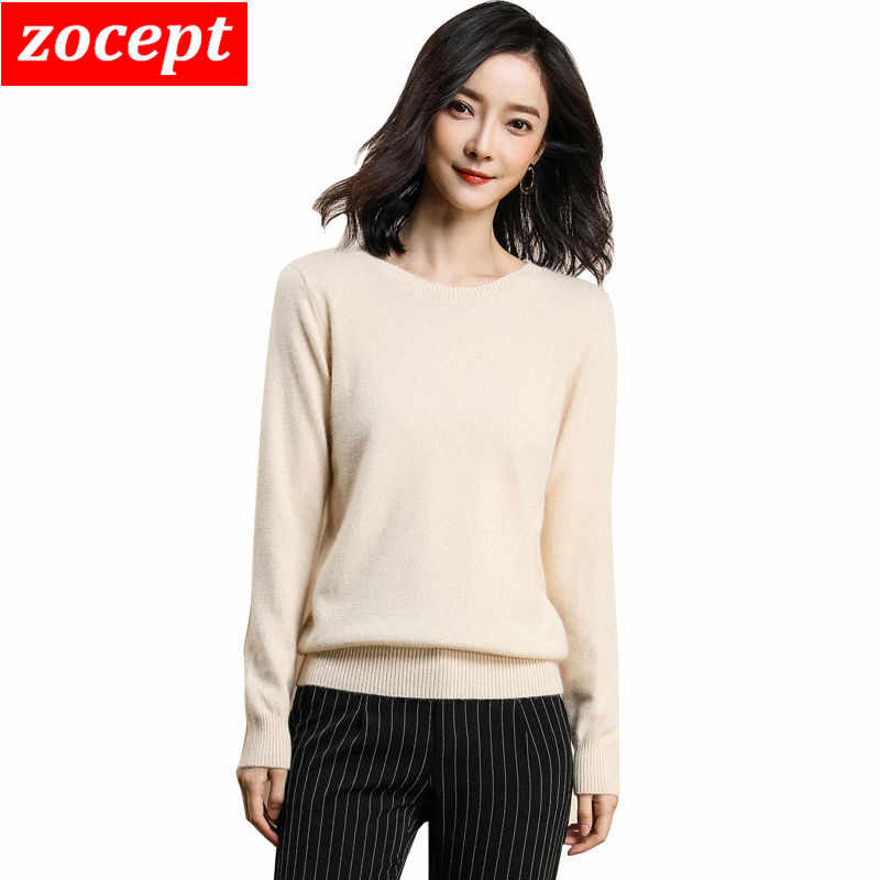 zocept High Quality Knitted Soft Women's Sweater Autumn Winter Knitwear Tops Casual Solid O-Neck Ladies Pullovers Female Jumper
