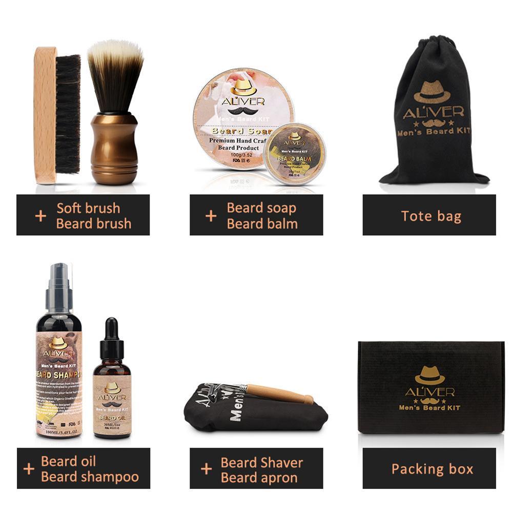 Men Beard Kit Styling Tool Beard Essence Oil Comb Brush With Apron Cloth Moustache Balm Moisturizing Wax Styling Beard Care Set 2