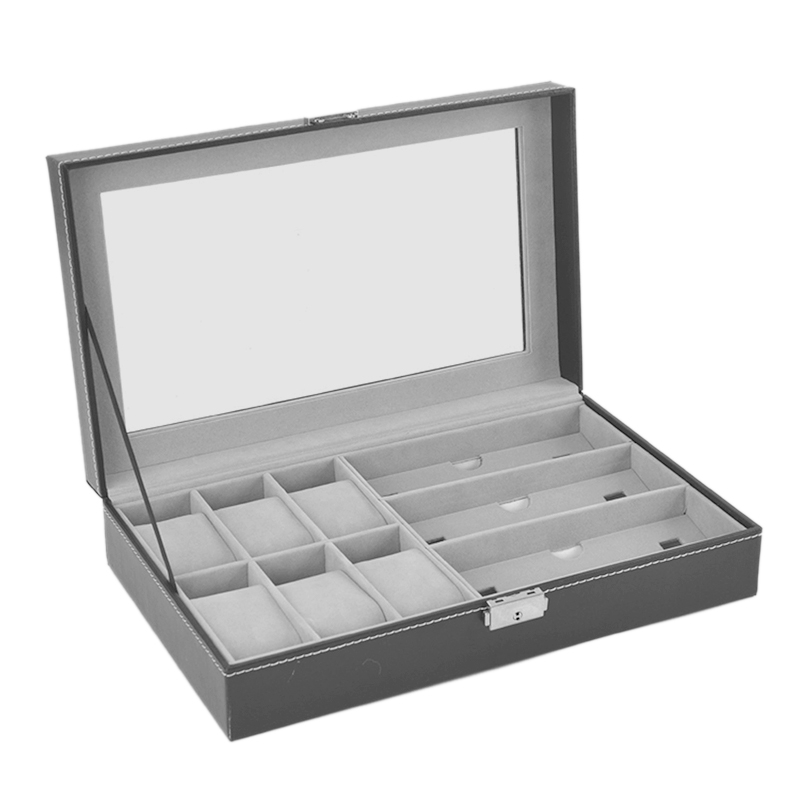 Glasses Storage Box Synthetic Leather Transparent Cover Exposure Box With 6 Grids And 3 Storage Glasses