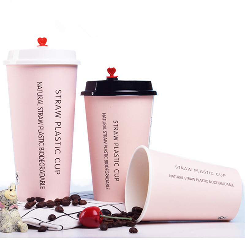 50pcs Pink Disposable Coffee Cup Thick Paper Cup 500ml Beverage Juice Hot Drink Water Packaging Party Favor Milk Tea Cup