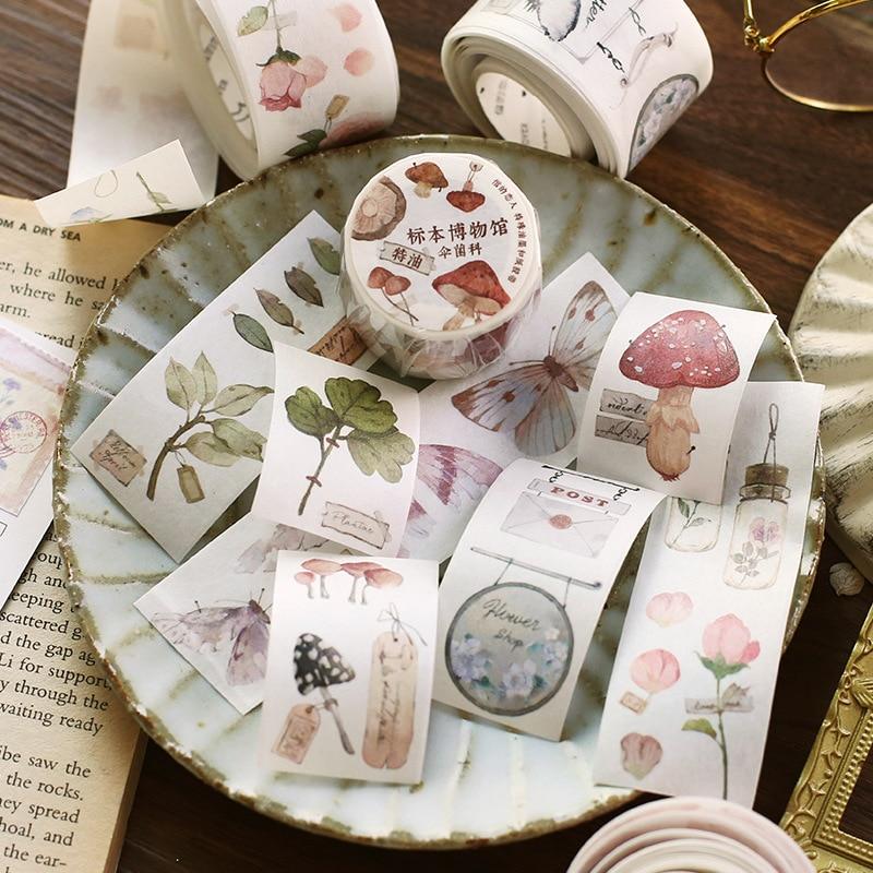 3cm Wide Specimen Museum Series Bullet Journal Washi Tape Vintage Plant Decorative Adhesive Tape DIY Scrapbooking Sticker Label