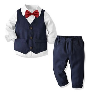 4pcs Boys Suits Vest Shirt Pant Bow Tie Baby Formal Dress Suit Kids British Style Gentleman Wedding Clothing Trousers Blazers Ba