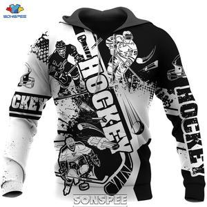 SONSPEE Love Hockey 3D Print Men Hoodie Casual Harajuku Long Sleeve Sport Coat Plus Size Streetwear Sweatshirt Pullover Tops
