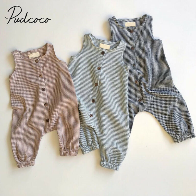 2020 Baby Summer Clothing Newborn Baby Girl Boy Clothes Sleeveless Plaids Romper Jumpsuit Overall Casual Outfits