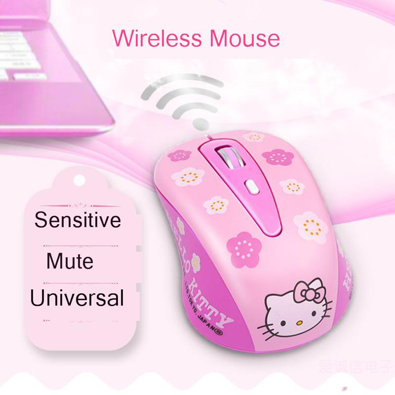 CHYI Cute Hello Kitty Pink Wireless Computer Mouse Mini Gift Mause 1600DPI PC Mouse 2.4Ghz Usb Optical Laptop Mice For Girl Kids