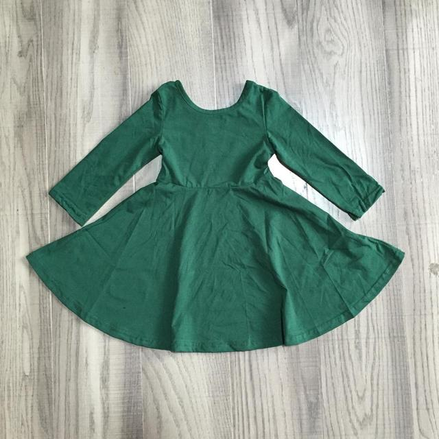 Girlymax Fall/winter Baby Girls Children Clothes Cotton Olive Wine Dark Green Solid Color Ruffles Dress 2