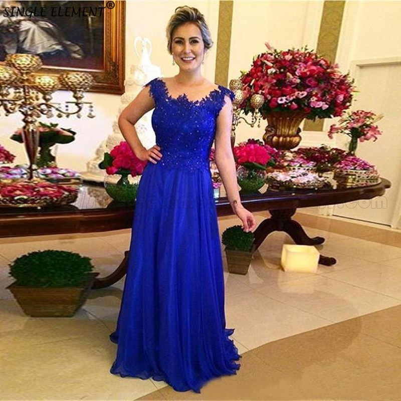 SINGLE ELEMENT Royal Blue Lace Applique Chiffon Wedding Party Guest Gown Mother Of The Bride Dresses