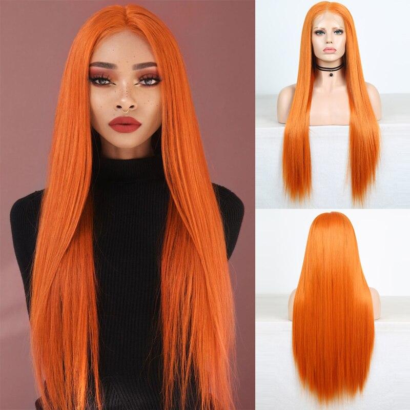 Carisma longo sedoso cabelo reto peruca laranja peruca sintética cheia do laço parte média resistente ao calor fibra cabelo cosplay perucas