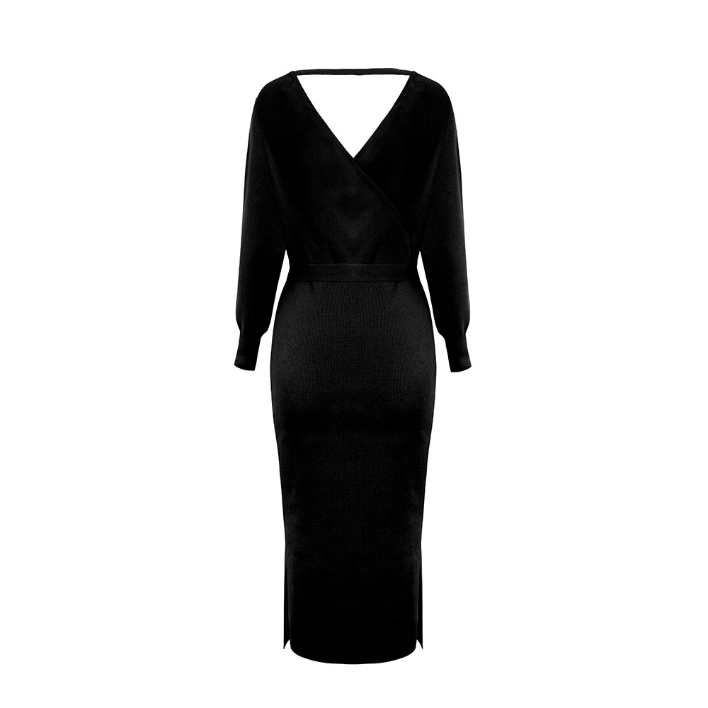 Long Sleeve V Neck With Cross Belt Sweater Knitted Dress 13