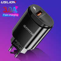USLION-cargador USB 3A para iPhone Xs 8, cargador de pared de carga rápida para Samsung, Xiaomi, Huawei, Adaptador europeo