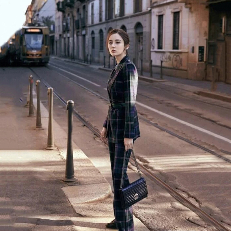 S-3XL high quality new fashion plaid print Slim thick fabric suit double-breasted shirt flared trousers women's suit 53