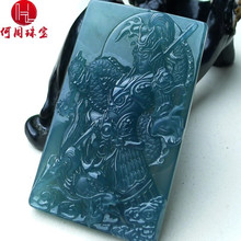 Hezhou jewelry!Myanmar natural jade!Exquisite hand carving!Guan gong pendant!Exquisite workmanship!59.76g mozart the statue of guan gong enshrines the god the sword lifts guan gong guan yu guan er ye wu caishen lucky ornaments