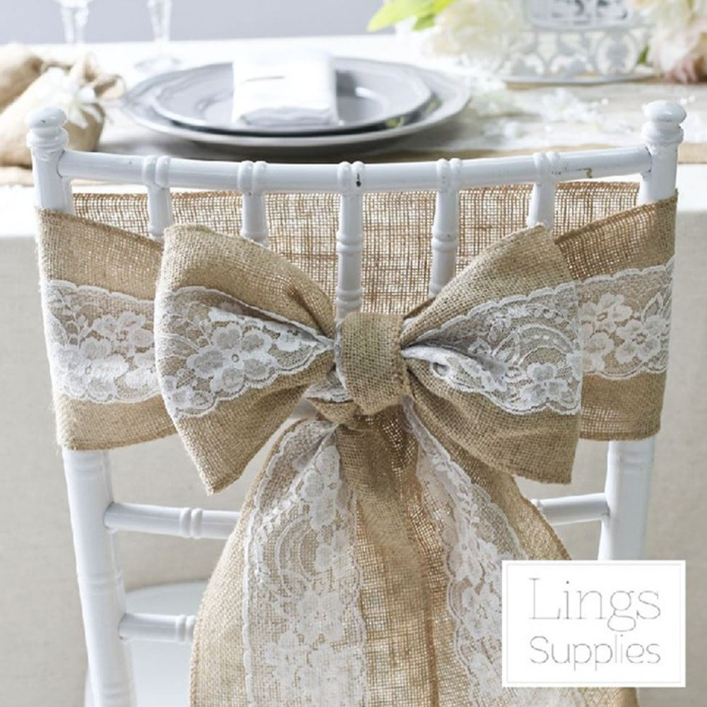 5PCS Naturally Vintage Burlap Chair Sashes Jute Chair Tie Bow For Rustic Wedding Decorative