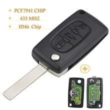 Kutery  10pcs/lot 3 Buttons Filp Folding Remote Car Key For Citroen Peugeot Key Ask 433 Mhz Id46 Pcf7941 CE0523