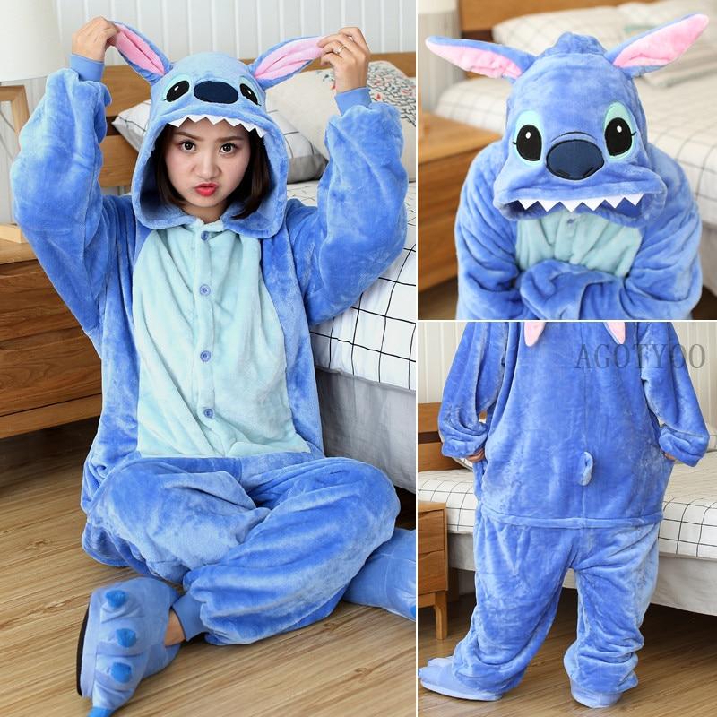 Unicorn Pajamas Costumes Onesies-Stitch-Pajamas Sleepwear Women Animal Flannel Adults