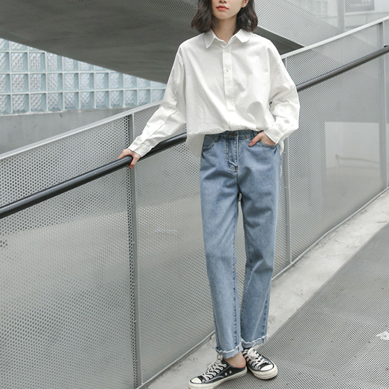 2020 Spring Long White Shirt Oversized Solid Women Lapel Collar Long Sleeve Women's Loose Cotton Tops Fashion Femme Blouse