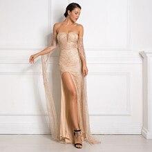 Gold Bling Glittered Elegant Party Dress Split Side Floor Length Strapless Cut Out Long Sleeve Autumn Night Dress